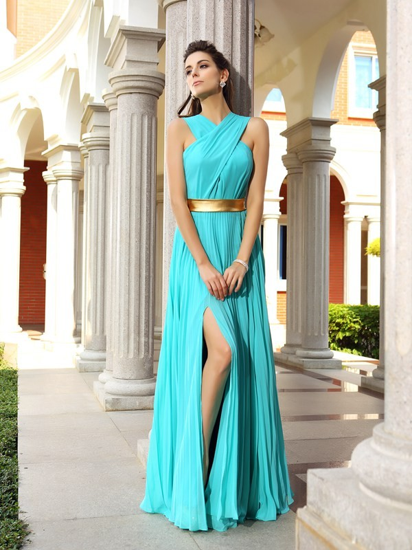 Other Floor-Length Blue Prom Dresses with Pleats