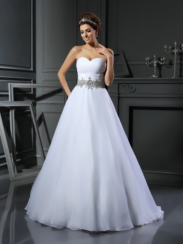 Ball Gown Satin Sweetheart Court Train Ivory Wedding Dresses