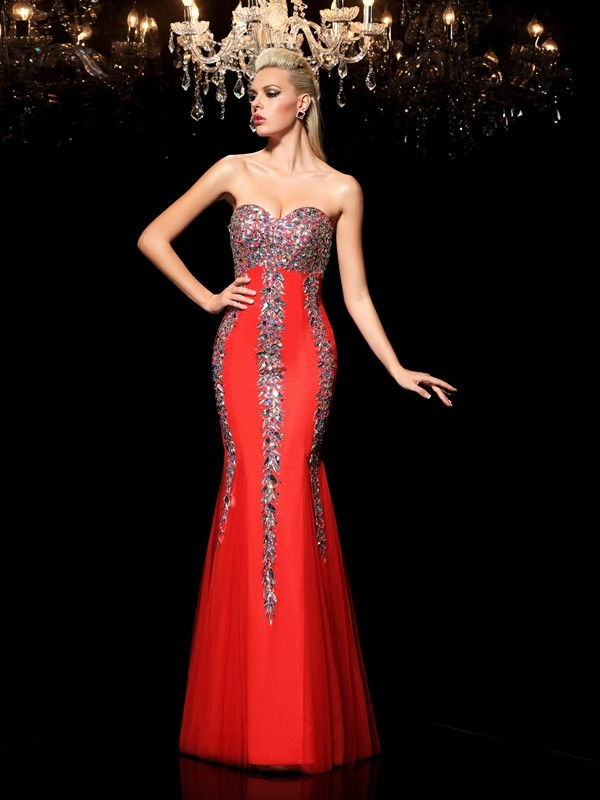Floor-Length Red Sweetheart Prom Dresses with Rhinestone