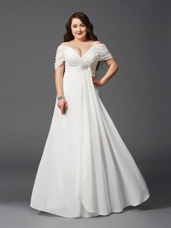 A-Line Short Sleeves Off-the-Shoulder Floor-Length Ivory Prom Dresses