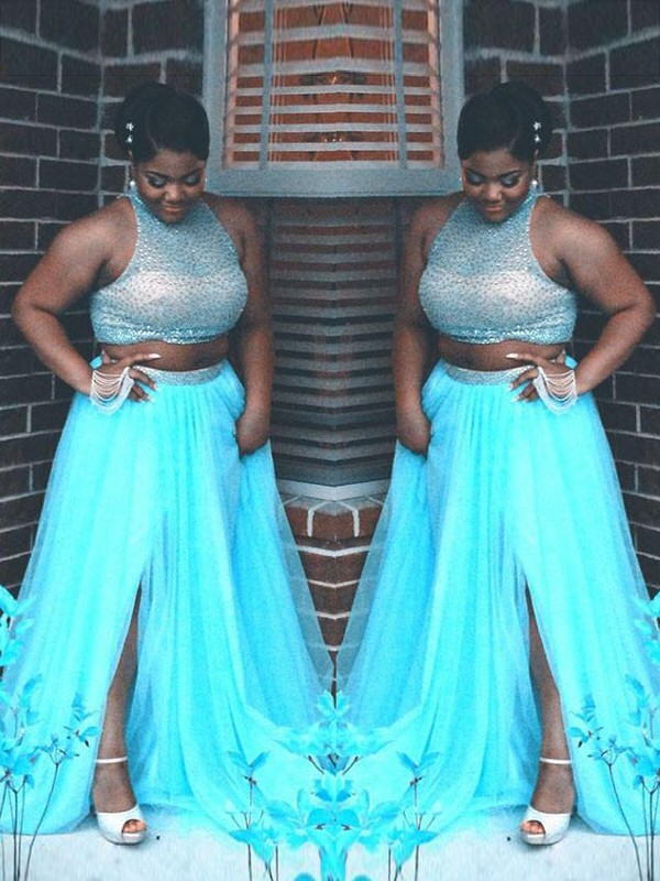 A-Line Tulle High Neck Brush Train Blue Prom Dresses