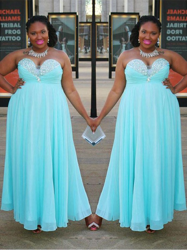 Chiffon Sweetheart Floor-Length Blue Prom Dresses