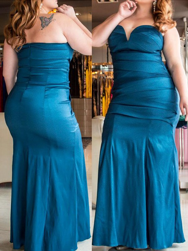 Floor-Length Blue Sweetheart Prom Dresses with Ruched