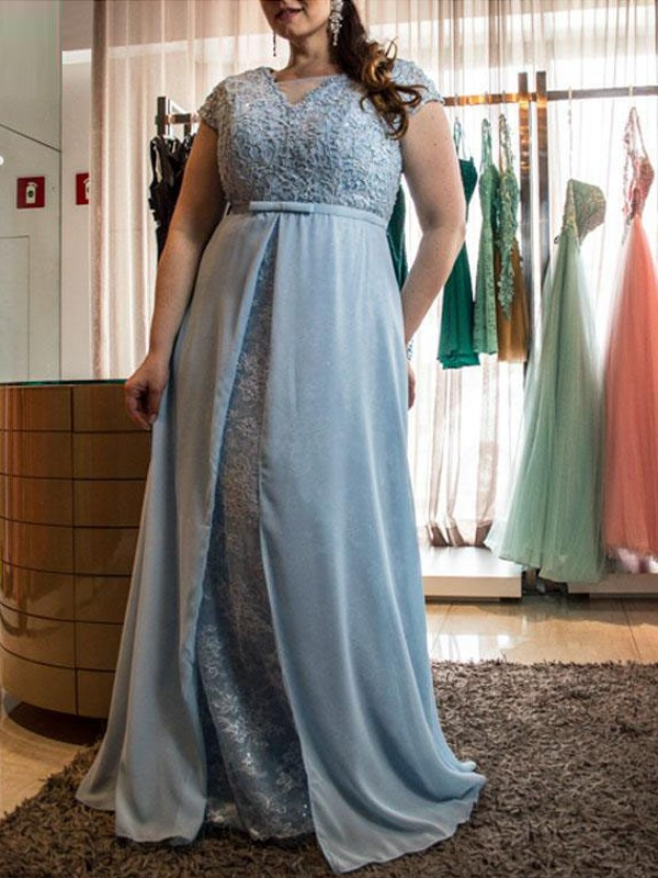 A-Line Short Sleeves Scoop Floor-Length Blue Prom Dresses