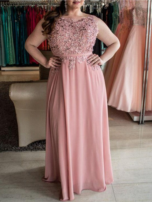 A-Line Bateau Floor-Length Pink Prom Dresses with Beading