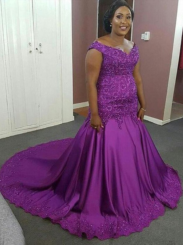 Mermaid V-neck Court Train Grape Prom Dresses