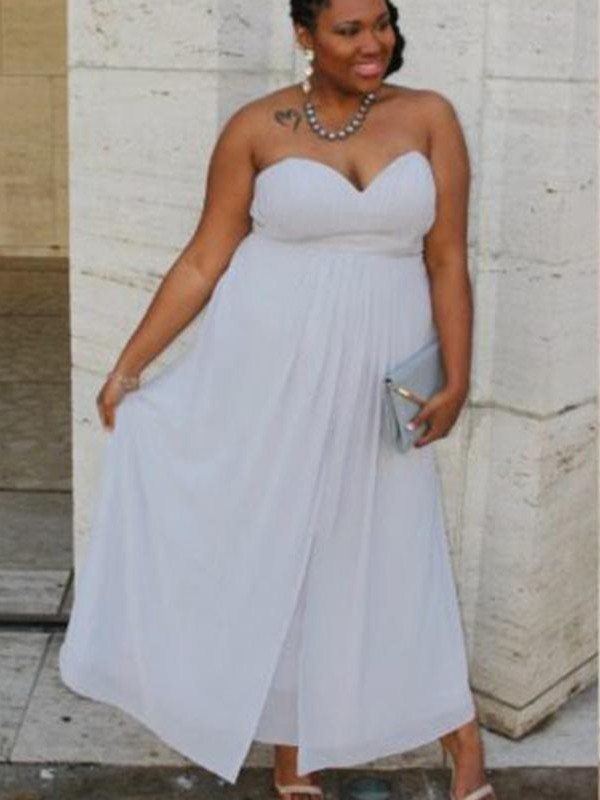 A-Line Sweetheart Ankle-Length White Prom Dresses