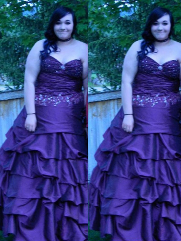Ball Gown Sweetheart Floor-Length Regency Prom Dresses with Beading