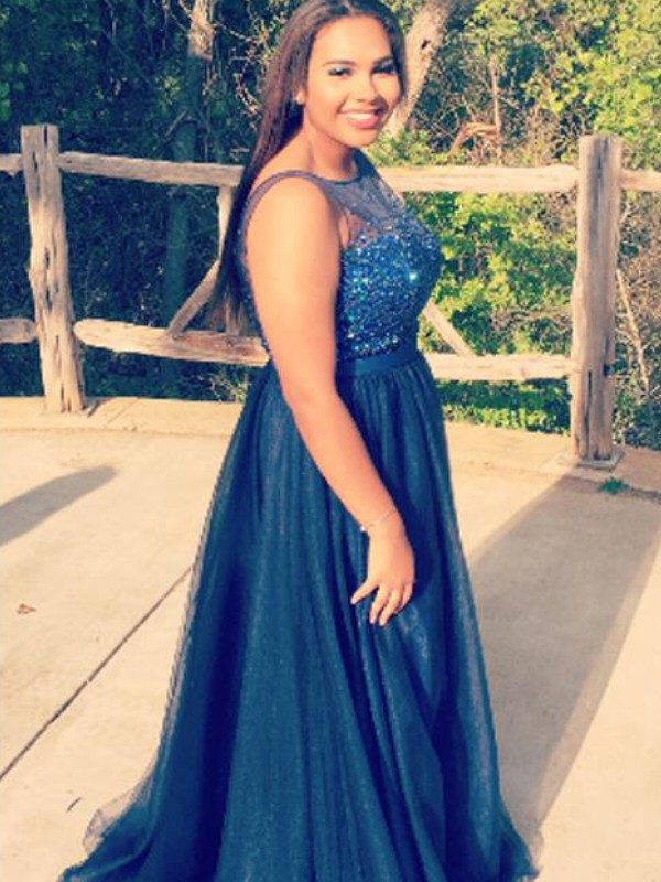 A-Line Sheer Neck Floor-Length Dark Navy Prom Dresses