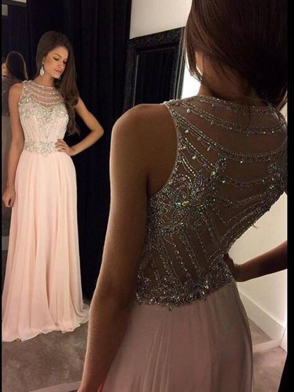 Pink A-Line Scoop Brush Train Prom Dresses with Crystal