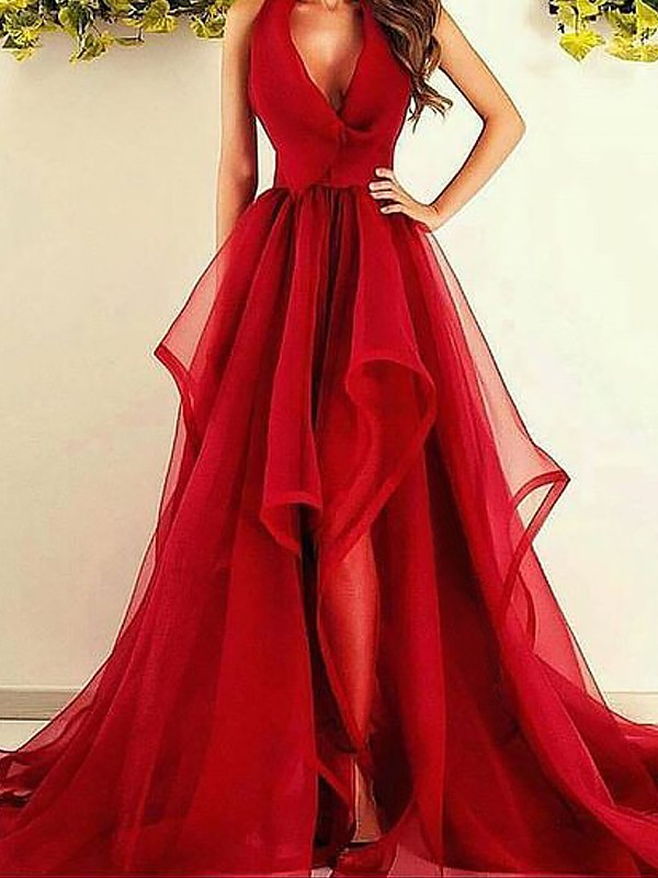 Asymmetrical Red V-neck Prom Dresses with Ruffles