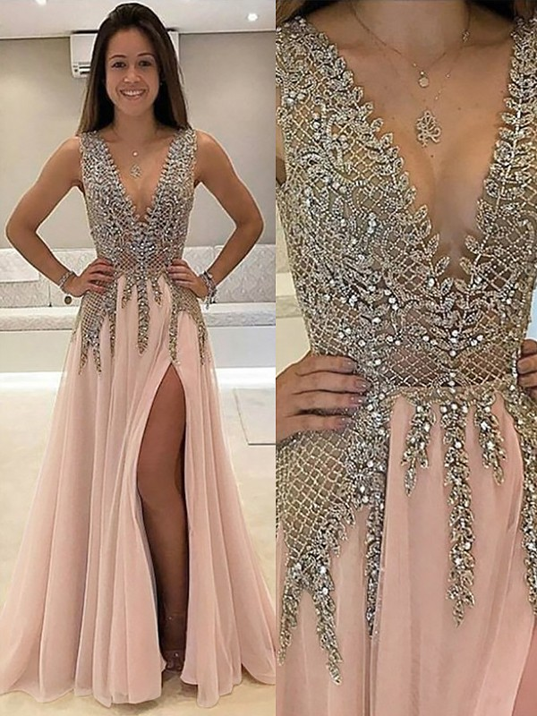 A-Line Tulle V-neck Sweep/Brush Train Pink Prom Dresses