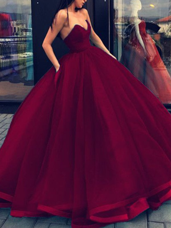 Ball Gown Burgundy Sweetheart Organza Floor-Length Prom Dresses