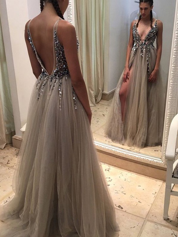 A-Line V-neck Brush Train Champagne Prom Dresses