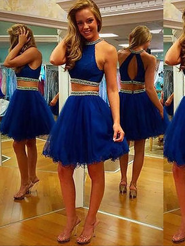 A-Line Halter Short Royal Blue Homecoming Dresses with Beading