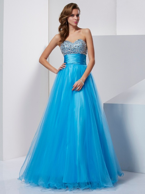 Blue A-Line Sweetheart Floor-Length Prom Dresses with Beading