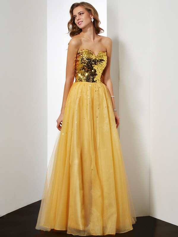 Floor-Length Gold Sweetheart Prom Dresses with Sequin