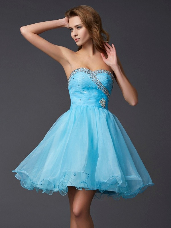 Tulle Sweetheart Short/Mini Blue Homecoming Dresses