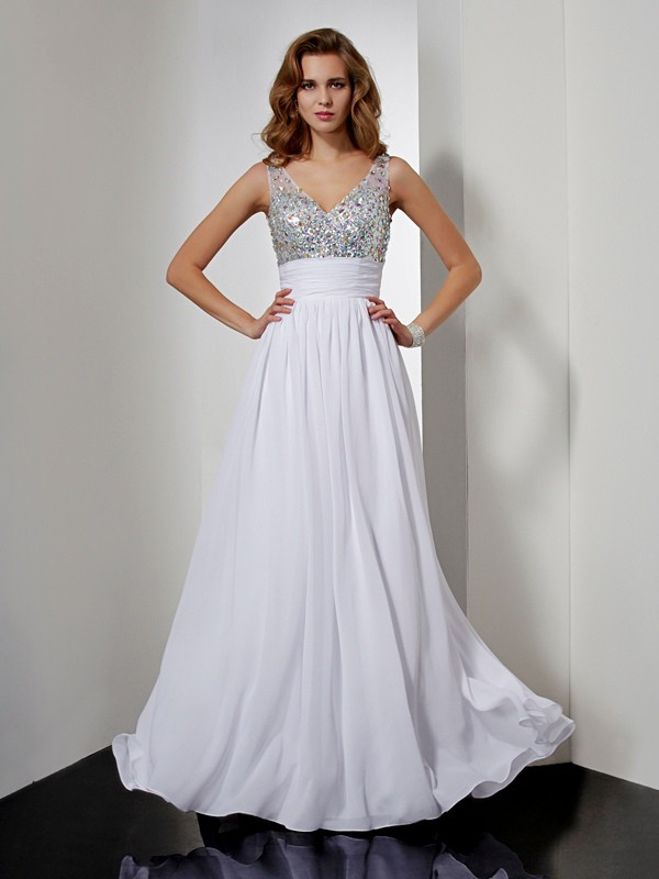 A-Line Chiffon V-neck Floor-Length Prom Dresses with Rhinestone