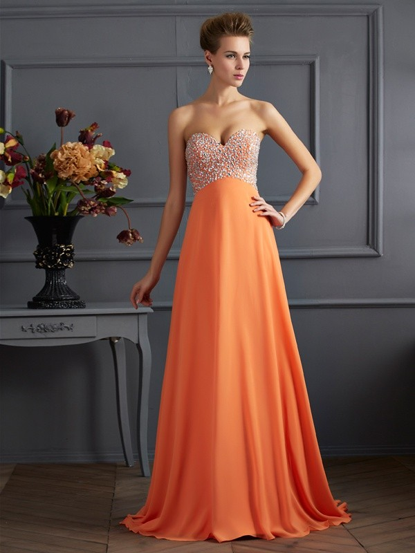Sweetheart Brush Train Orange Prom Dresses with Beading