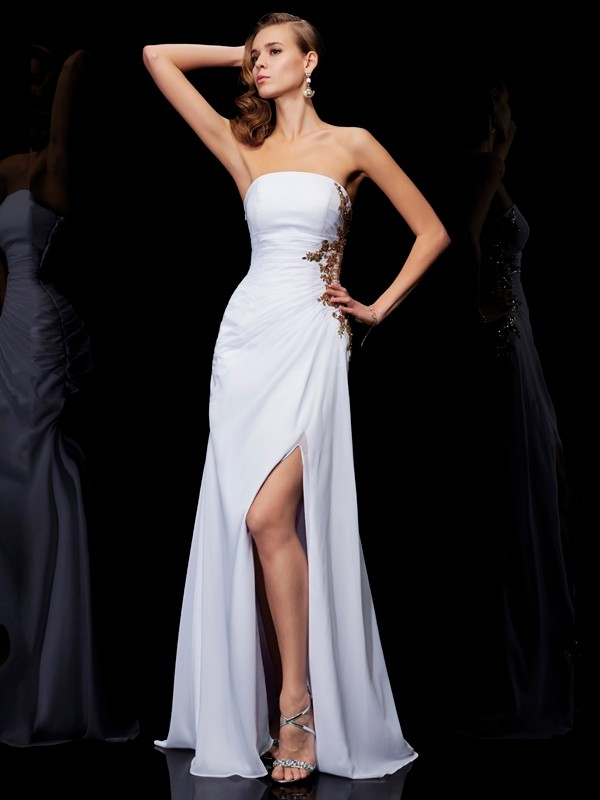 Sheath Strapless Floor-Length White Prom Dresses