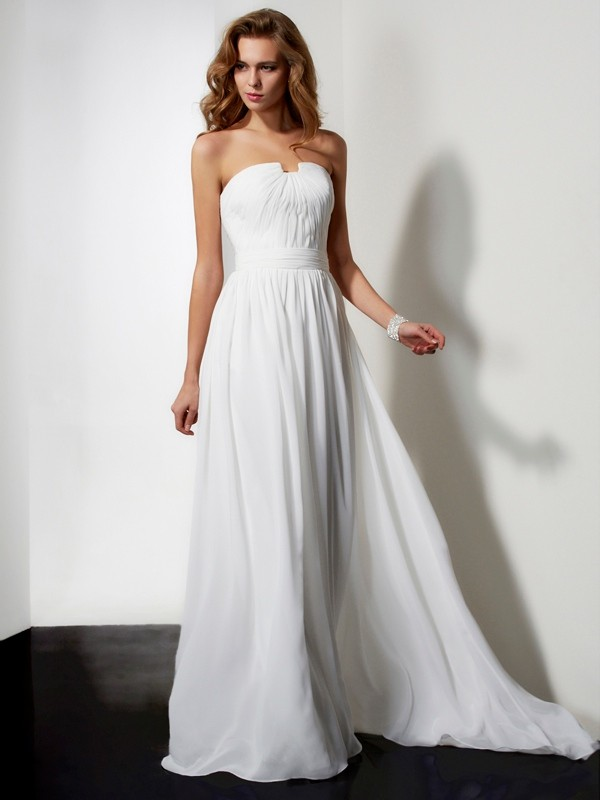 A-Line Strapless Floor-Length Ivory Prom Dresses with Ruffles