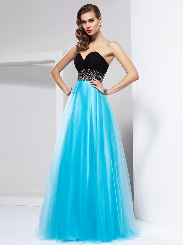 A-Line Net Sweetheart Long Prom Dresses with Sash/Ribbon/Belt