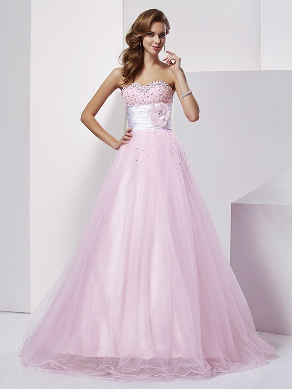 Ball Gown Strapless Floor-Length Pearl Pink Prom Dresses