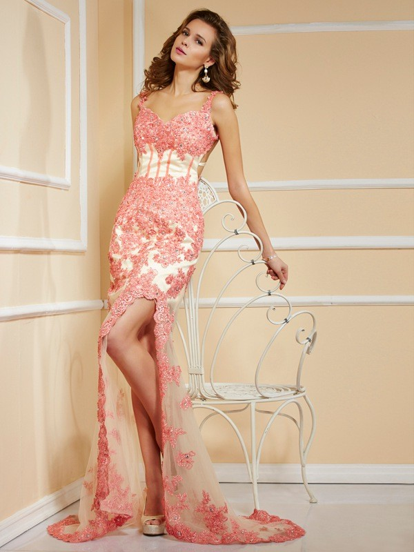 Sheath Straps Brush Train Red Prom Dresses with Applique