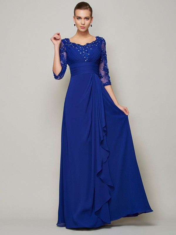 Long Royal Blue 3/4 Sleeves Scoop Mother of the Bride Dresses with Lace