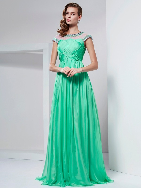 Chiffon A-Line Long Short Sleeves High Neck Green Prom Dresses