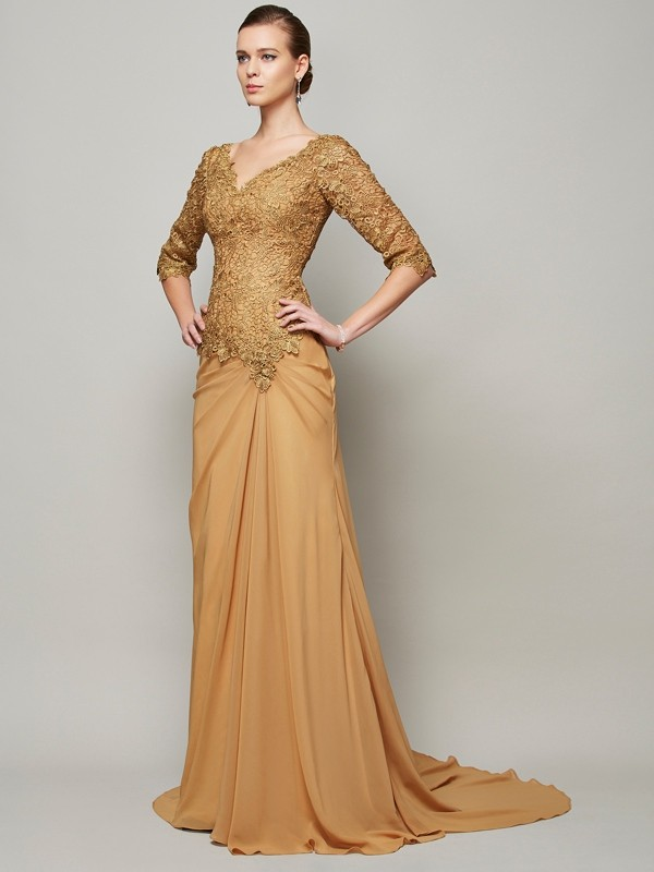 Half Sleeves V-neck Floor-Length Brown Prom Dresses with Lace