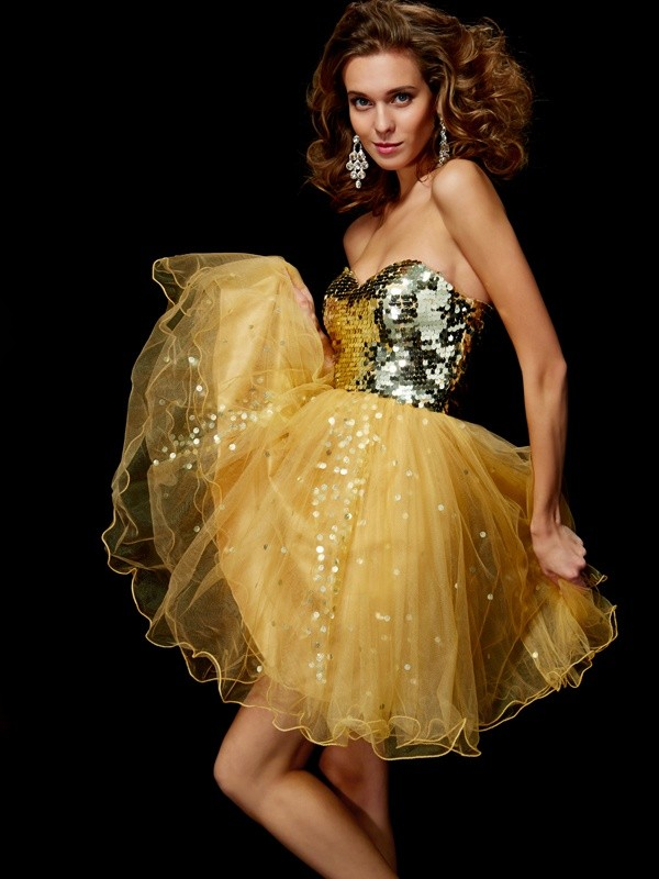 Short/Mini Gold Sweetheart Homecoming Dresses with Paillette