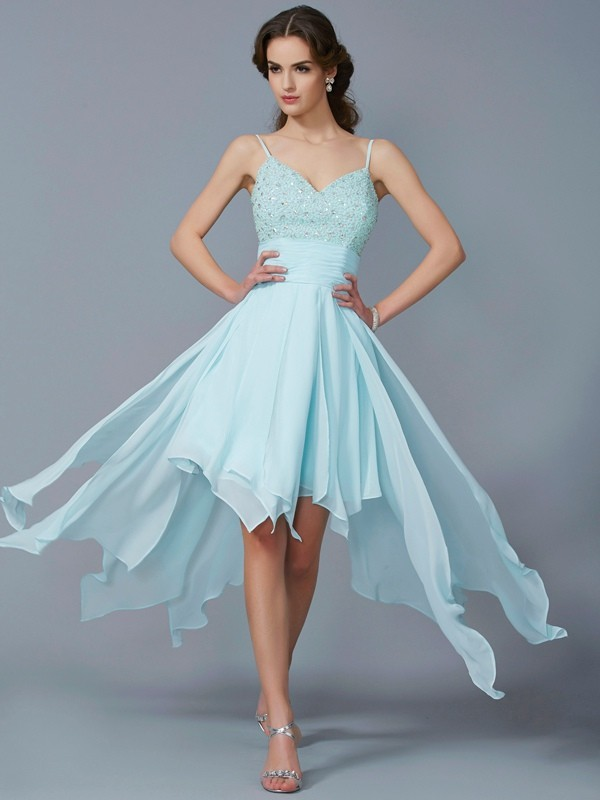 A-Line Spaghetti Straps Asymmetrical Blue Homecoming Dresses with Beading