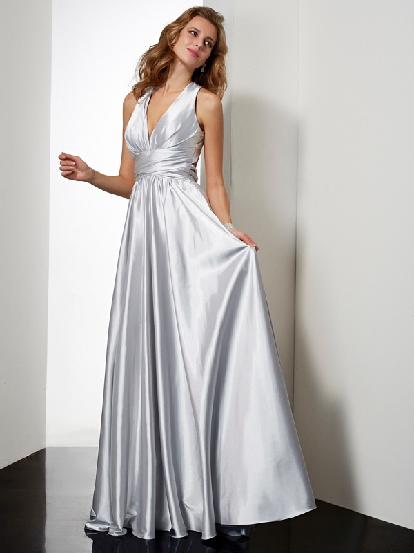Halter Floor-Length Silver Prom Dresses with Pleats
