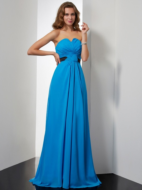 A-Line Chiffon Sweetheart Brush Train Prom Dresses with Sash/Ribbon/Belt