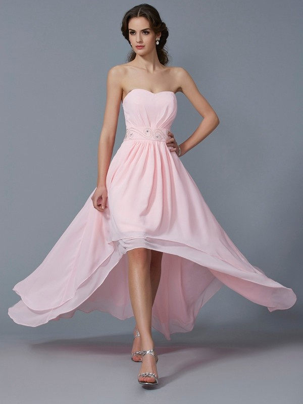 Chiffon A-Line Asymmetrical Sweetheart Pink Homecoming Dresses