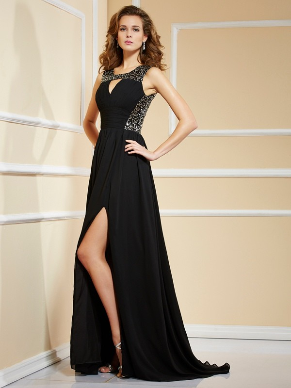 A-Line High Neck Brush Train Black Prom Dresses with Lace
