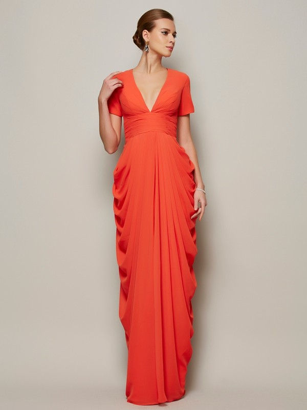 Floor-Length Orange Short Sleeves V-neck Prom Dresses with Pleats