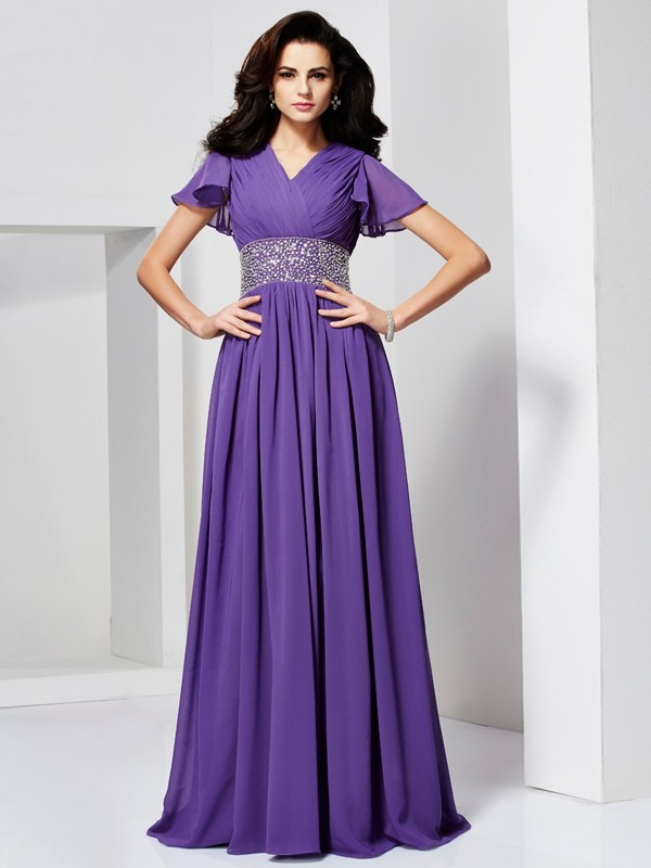 Chiffon A-Line Long Short Sleeves V-neck Regency Prom Dresses
