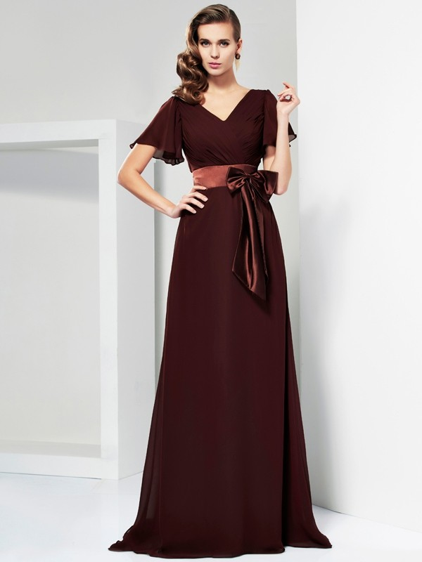 A-Line V-neck Brush Train Chocolate Prom Dresses with Bowknot