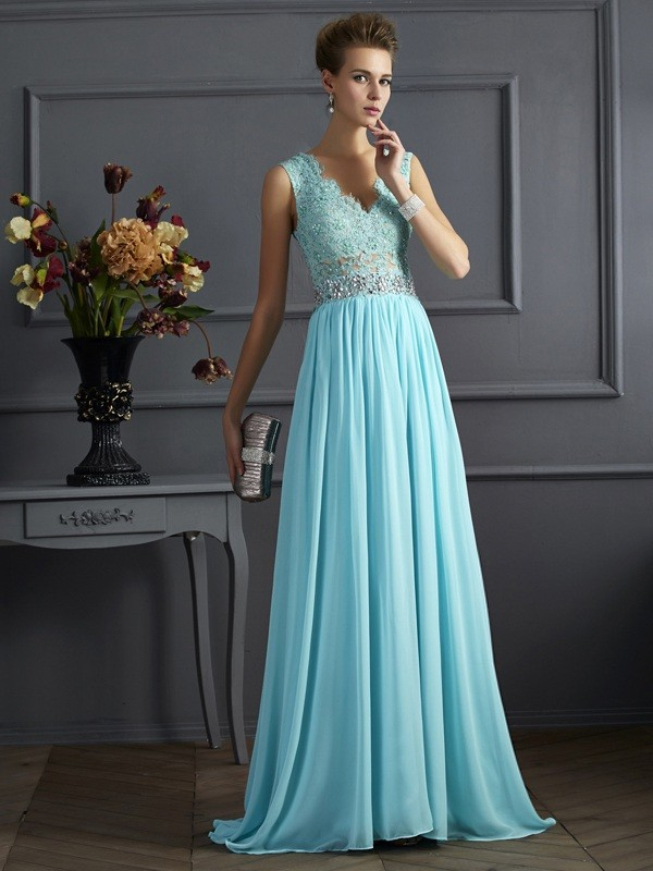A-Line Straps Brush Train Blue Prom Dresses