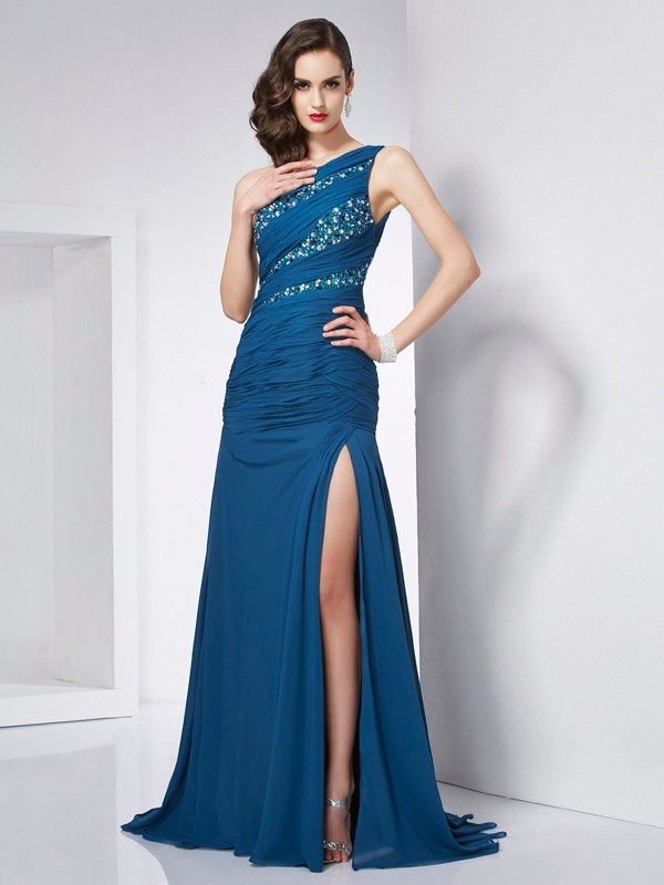 Other One-Shoulder Chiffon Brush Train Prom Dresses