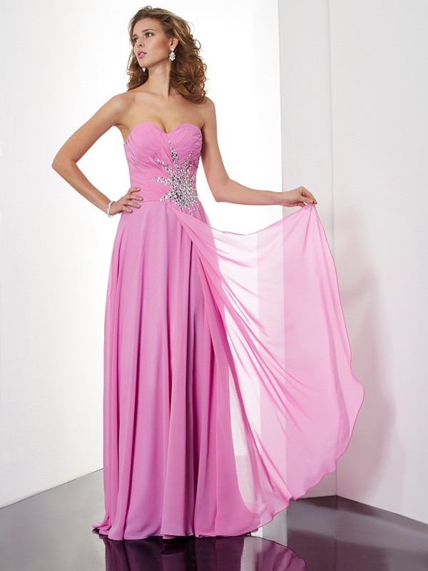 A-Line Sweetheart Floor-Length Pink Prom Dresses