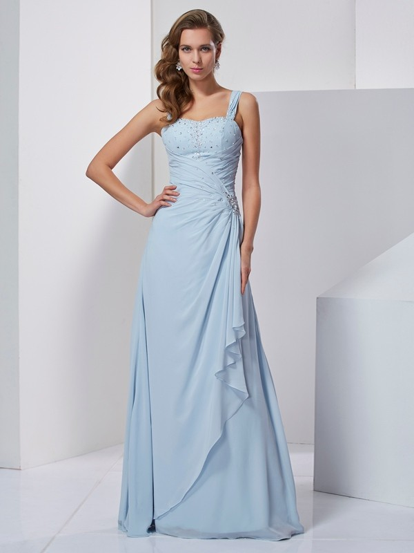 A-Line Straps Floor-Length Light Sky Blue Prom Dresses with Beading