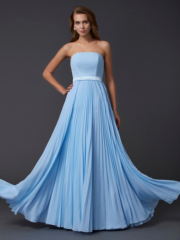 Strapless Floor-Length Light Sky Blue Prom Dresses with Ruched