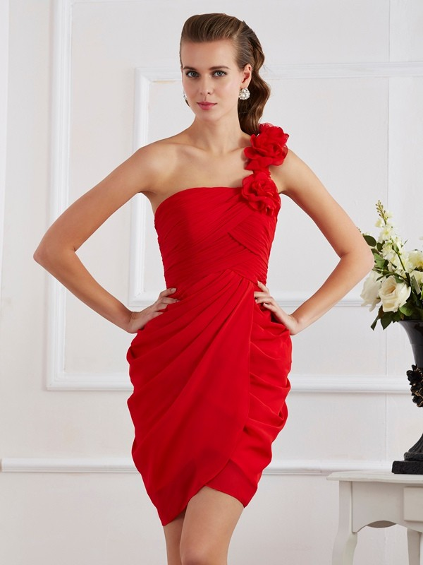 Sheath One-Shoulder Short/Mini Red Homecoming Dresses
