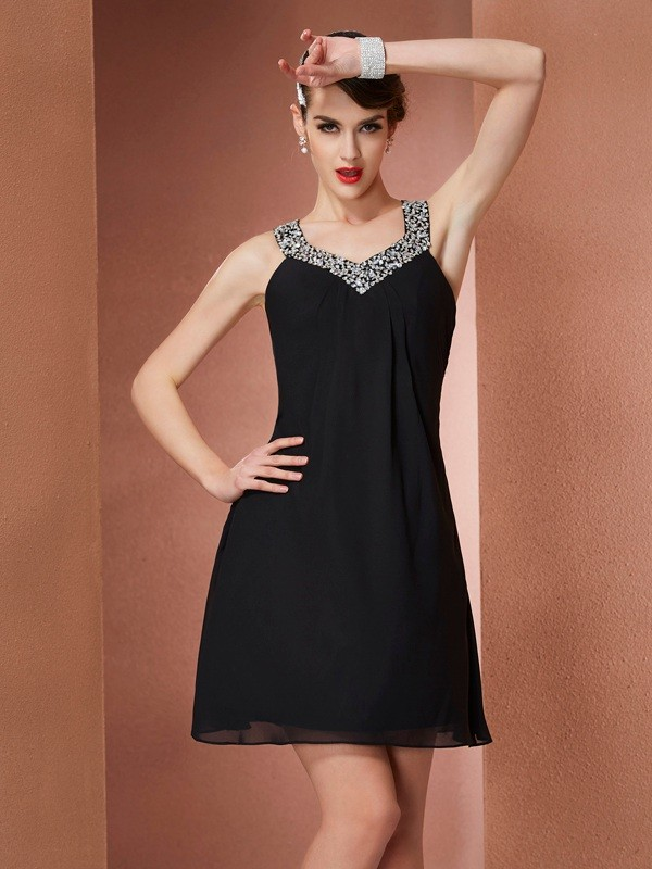 Black A-Line Scoop Short/Mini Homecoming Dresses with Beading