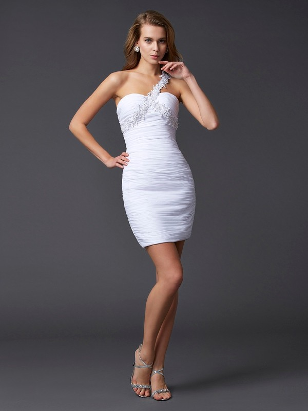 One-Shoulder Short/Mini White Homecoming Dresses with Beading