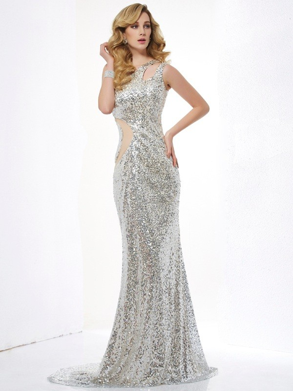 Silver Mermaid One-Shoulder Brush Train Prom Dresses with Lace